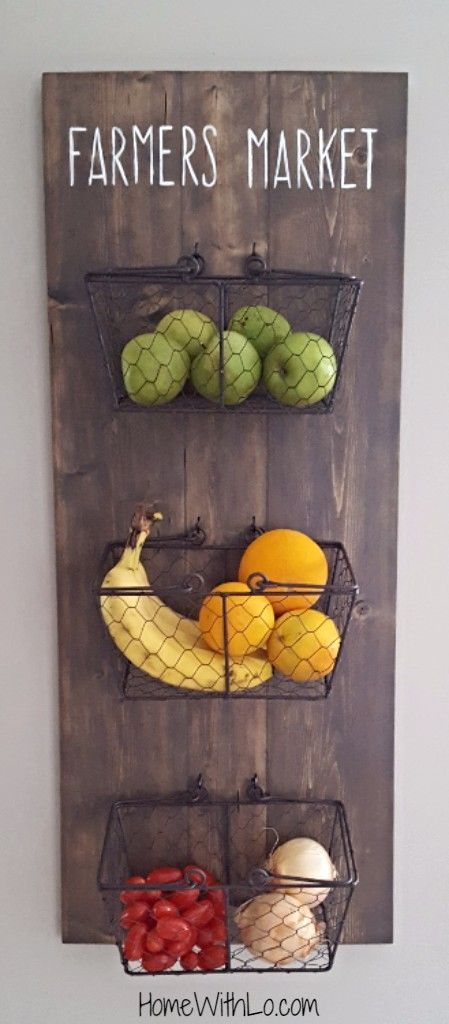 Inspirational DIY Rustic Home Decor Ideas -  - diy - rustic kitchen fruit holder -