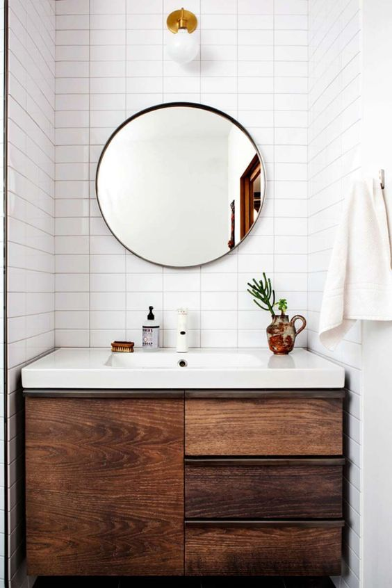 29+ Best Inspirations How To Style Bathroom Mirror -  - interior-design - bathroom vanity mirror inspiration idea round framed lights rectangle frameless large rustic 26 -