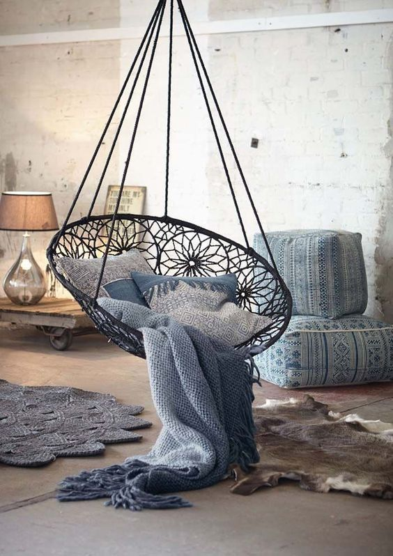 5 Reasons Why Hanging Chair Is Great For Your Bedroom -  - interior-design - hanging chair in bedroom indoor boho scandinavian modern 10 -