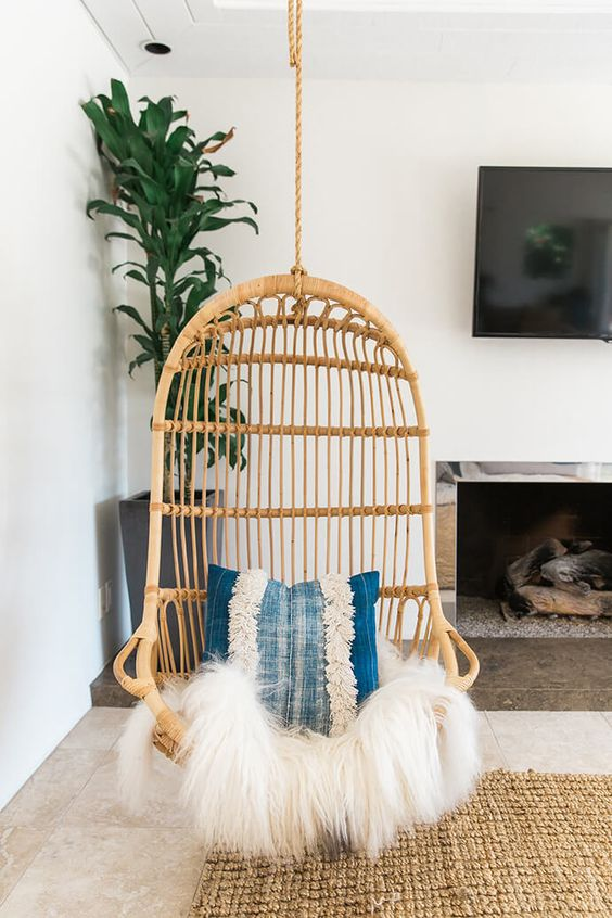 5 Reasons Why Hanging Chair Is Great For Your Bedroom -  - interior-design - hanging chair in bedroom indoor boho scandinavian modern 13 -