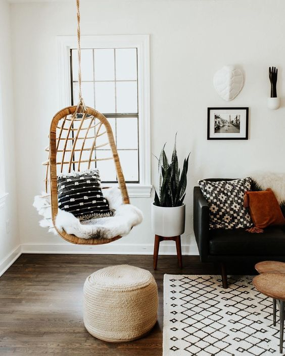 5 Reasons Why Hanging Chair Is Great For Your Bedroom -  - interior-design - hanging chair in bedroom indoor boho scandinavian modern 16 -