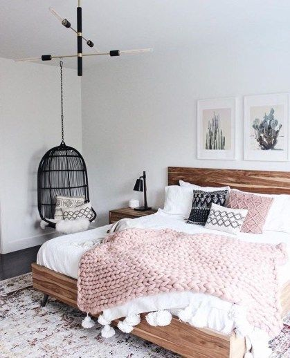 5 Reasons Why Hanging Chair Is Great For Your Bedroom -  - interior-design - hanging chair in bedroom indoor boho scandinavian modern 18 -