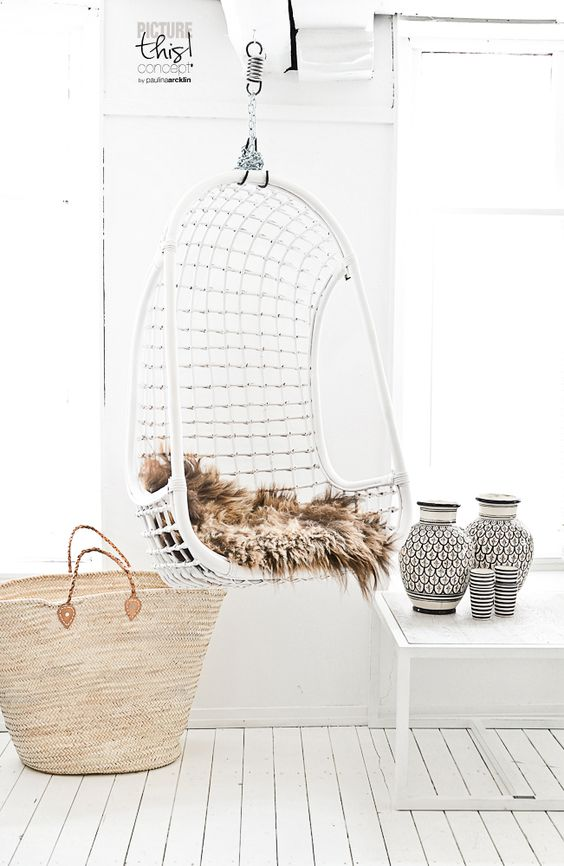 5 Reasons Why Hanging Chair Is Great For Your Bedroom -  - interior-design - hanging chair in bedroom indoor boho scandinavian modern 22 -