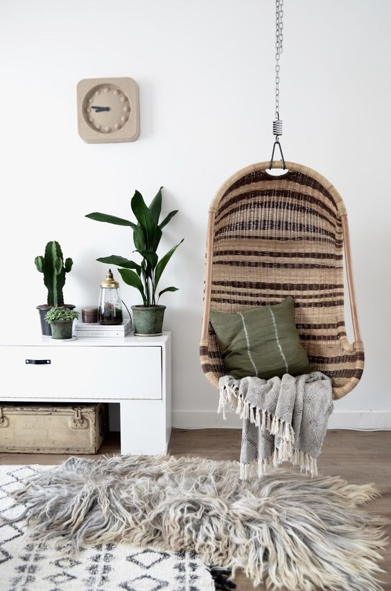 5 Reasons Why Hanging Chair Is Great For Your Bedroom -  - interior-design - hanging chair in bedroom indoor boho scandinavian modern 31 -
