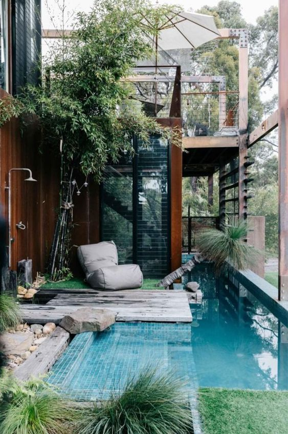 5 Practical Decor Tips & 39 Ideas For Small Backyard -  - garden - Small backyard ideas and tips simple patio with pool and narrow paths 23 -