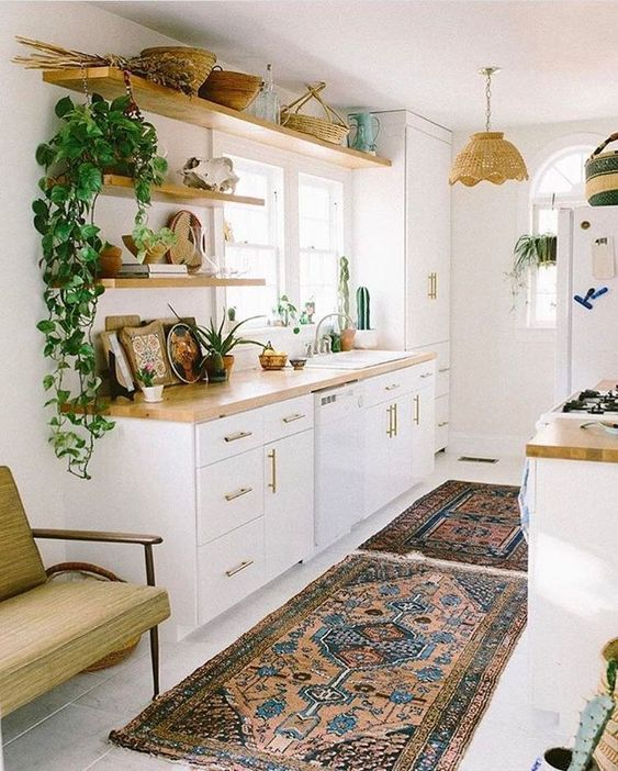 32 Photos Of Area Rugs In Interior That Make You Get One -  - home-decor - area rug in kitchen table cabinets boho rustic modern 5 -