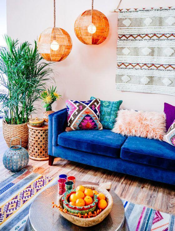 Blog -  -  - colorful bohemian interior design boho decor modern living room bedroom kitchen inspiration 23 -